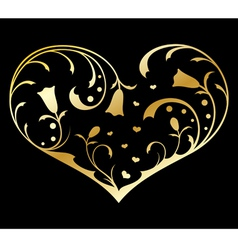 Gold heart with floral decorations vector
