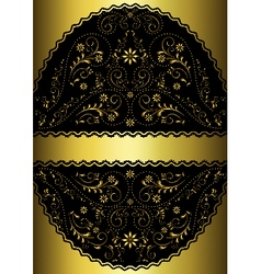 Gold ribbon in gold wavy openwork oval frame vector image vector image