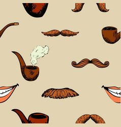 Pattern with mustache and pipe vector