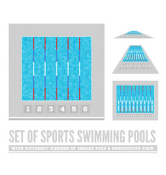 Set of sports swimming pools with different number vector