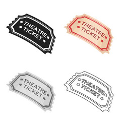 theatre ticket icon in cartoon style isolated on vector image vector image