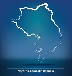 Doodle map of nagorno-karabakh republic vector