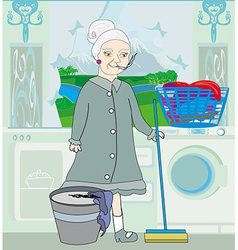 maid cleans the kitchen vector image vector image