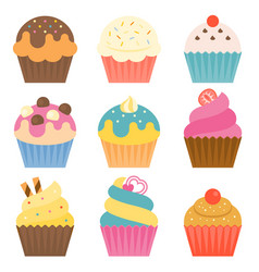 set of cup cake icon with coating sugar vector image vector image