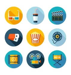 Set of flat cinema and movie icons vector image