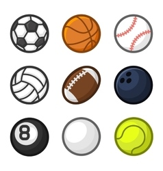 Sport Balls Cartoon Style Set on White Background vector image vector image