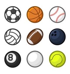 Sport Balls Cartoon Style Set on White Background vector image