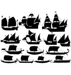 Ancient sail boats vector