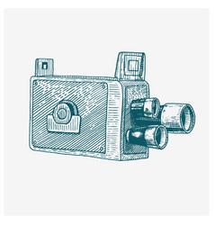 photo movie film camera vintage engraved hand vector image vector image