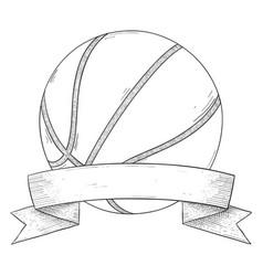 basketball ball with ribbon banner hand drawn vector image