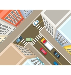 Crossroads in the city top view vector