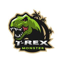 Dinosaur head logo emblem t-rex monster vector