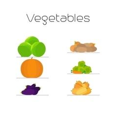 Foods market vegetables flat icons set vector image