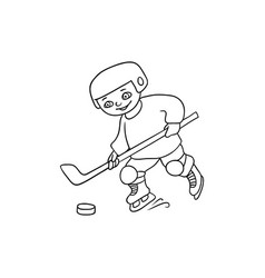 happy little boy playing hockey black and white vector image