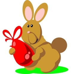 Holiday hare gift egg in color 02 vector image