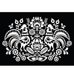 Polish folk art pattern roosters on black vector image vector image