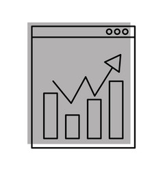 template computer with statistics graph vector image