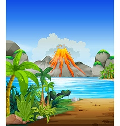 Volcano eruption behind the lake vector image vector image