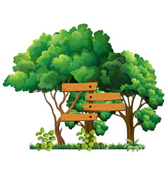 wooden sign in the garden vector image