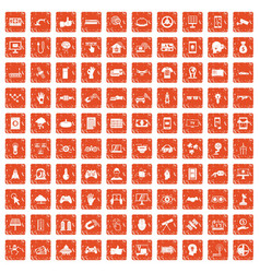 100 hi-tech icons set grunge orange vector