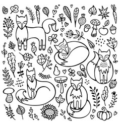 autumn doodle background set foxes vector image