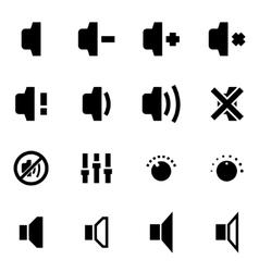 Black speaker icon set vector