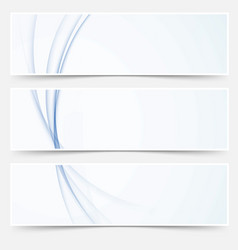Blue abstract swoosh wave line web headers vector