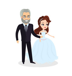 bride with father parent with daughter wedding vector image