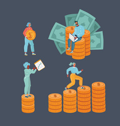 bundle man and woman with money vector image