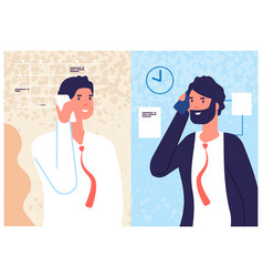 Business phone conversation men speaking call vector