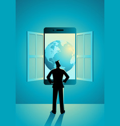 businessman standing looking through window made vector image