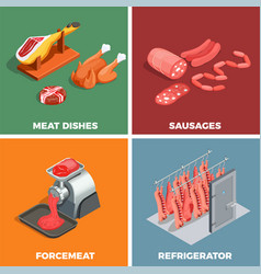 butcher shop isometric concept vector image