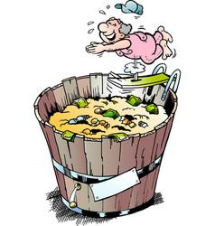 Cartoon of a rich pensioner who took a bath vector