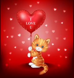 Cartoon puppy holding red heart balloon vector