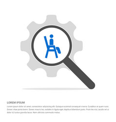 chair icon search glass with gear symbol icon vector image