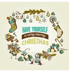 Christmas card - with hand-drawn christmas element vector