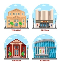 Cinema building library architecture vector