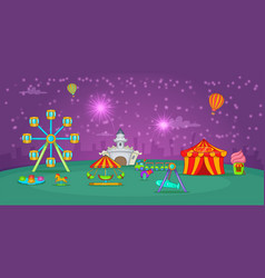circus horizontal banner starry sky cartoon style vector image