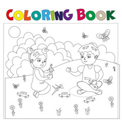 coloring book with kids vector image