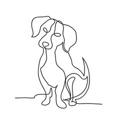 Continuous line dog minimalistic hand drawing vector