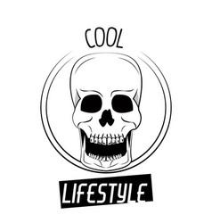 Cool skull print for tshirt vector