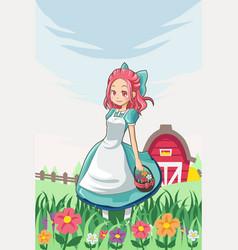 Country farm girl vector