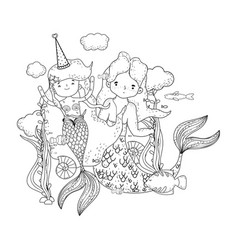 Couple mermaids undersea scene vector