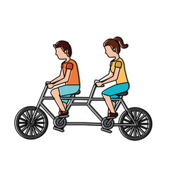 couple riding tandem bicycle sports traveling vector image