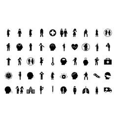covid19 19 silhouette style icon set design vector image