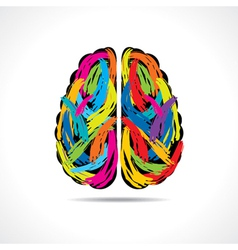 Creative brain with paint strokes vector image