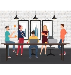 Creative Team in coworking center Various young vector image