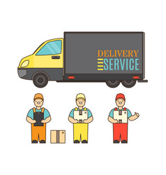 delivery service concept poster in cartoon style vector image vector image