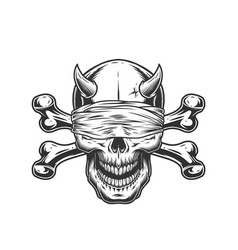 Demon skull with blindfold and crossbones vector