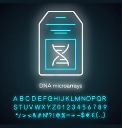 Dna microarray neon light icon dna chip vector